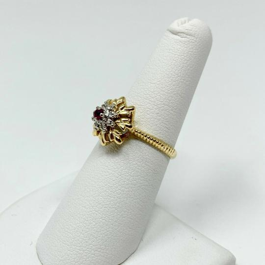 Other 14k Yellow Gold Vintage Ruby and Diamond Floral Ring Size 7 Image 6