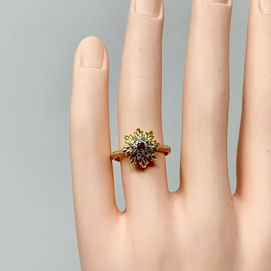 Other 14k Yellow Gold Vintage Ruby and Diamond Floral Ring Size 7 Image 7