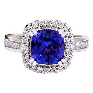 Fashion Strada 3.70 Carat Natural Tanzanite 14K Solid White Gold Diamond Ring