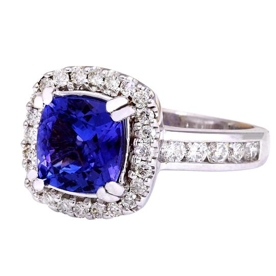 Fashion Strada 3.70 Carat Natural Tanzanite 14K Solid White Gold Diamond Ring Image 4