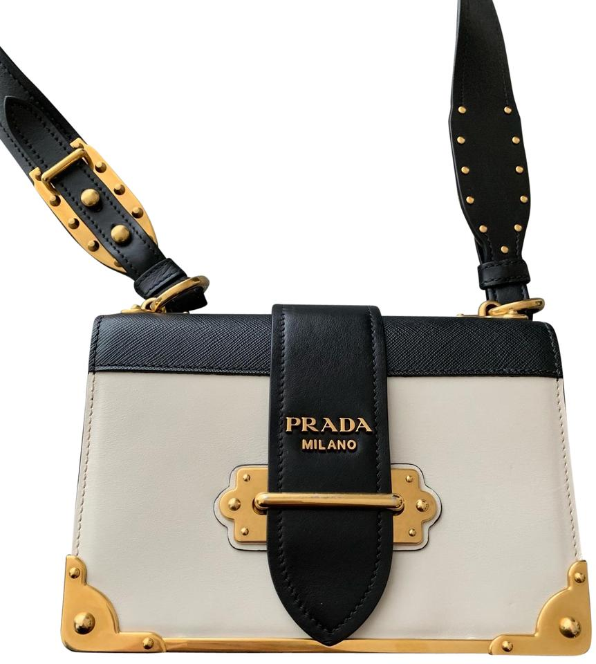 3f6e8c88bf16c0 Prada Cahier Large Ivory and Black Leather Cross Body Bag - Tradesy