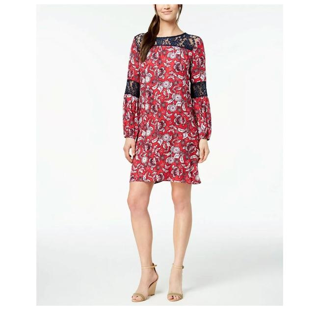Preload https://img-static.tradesy.com/item/25184075/ny-collection-red-lace-inset-printed-short-casual-dress-size-petite-12-l-0-0-650-650.jpg