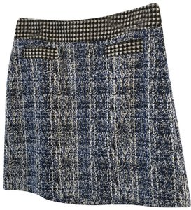 CAbi Skirt Tweed looking navy, black and white. Waistband is a black and white checkered fabric, making a very unique skirt.