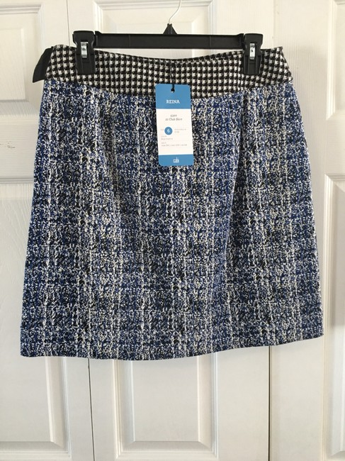 CAbi Skirt Tweed looking navy, black and white. Waistband is a black and white checkered fabric, making a very unique skirt. Image 1