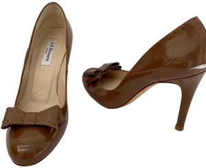 L.K. Bennett Stiletto Sexy Strappy Bow Brown Pumps