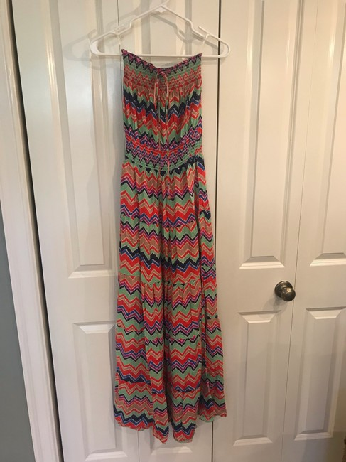 red, green, purple, and blue Maxi Dress by T-Bags Los Angeles Image 1
