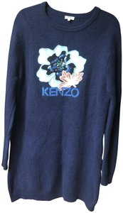 Kenzo short dress Navy Blue Sweater Flower Midi on Tradesy