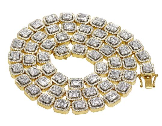 Preload https://img-static.tradesy.com/item/25184450/jewelry-unlimited-14k-yellow-gold-9mm-halo-baguette-diamond-chain-2185-ct-22-necklace-0-0-540-540.jpg