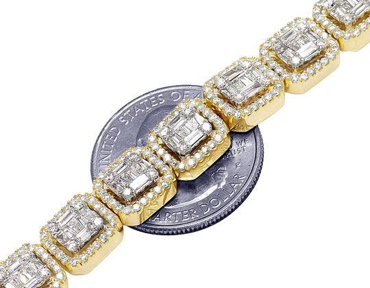 Jewelry Unlimited 14K Yellow Gold 9MM Halo Baguette Diamond Chain Necklace 21.85 CT 22