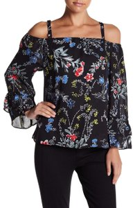 Parker Tops Open Shoulder Tops Top black with multi color florals in pink blue yellow & red