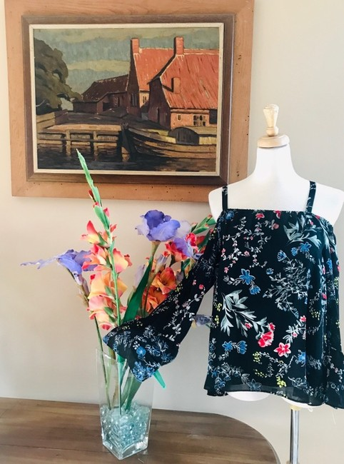 Parker Tops Open Shoulder Tops Top black with multi color florals in pink blue yellow & red Image 2