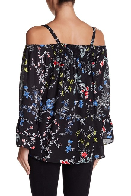 Parker Tops Open Shoulder Tops Top black with multi color florals in pink blue yellow & red Image 4