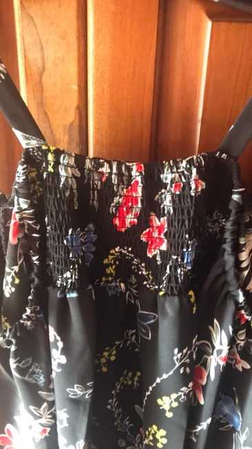 Parker Tops Open Shoulder Tops Top black with multi color florals in pink blue yellow & red Image 6
