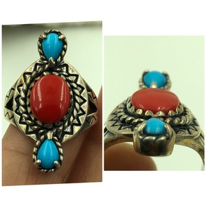 Carolyn Pollack Coral & Turquoise Stones in Real STER Silver Ring
