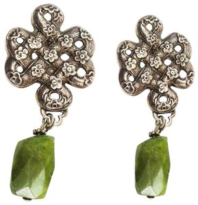 Stephen Dweck Sterling Silver Woven Floral Green Clip Earrings