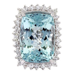 Fashion Strada 29.03 Carat Natural Aquamarine 14K Solid White Gold Diamond Ring