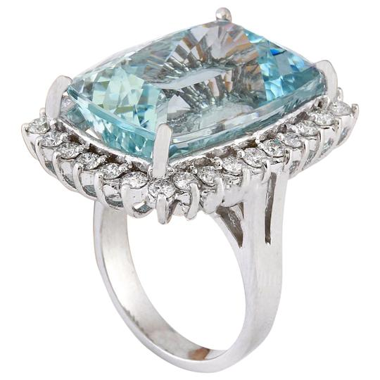 Fashion Strada 29.03 Carat Natural Aquamarine 14K Solid White Gold Diamond Ring Image 2