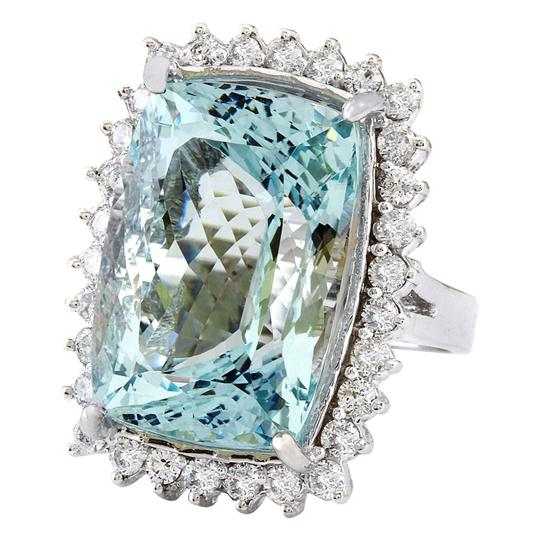 Fashion Strada 29.03 Carat Natural Aquamarine 14K Solid White Gold Diamond Ring Image 3