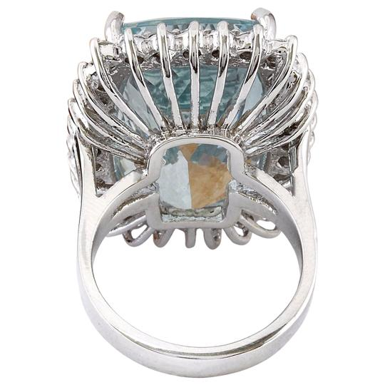 Fashion Strada 29.03 Carat Natural Aquamarine 14K Solid White Gold Diamond Ring Image 4