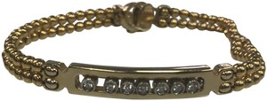 n/a New 14k Gold Beaded Bracelet W Sliding Diamonds