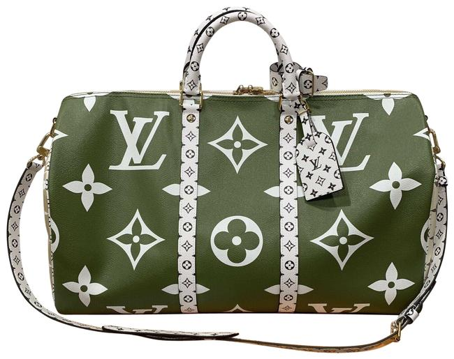 Louis Vuitton Keepall 50 Giant Logo Green Black Monogram Murakami Shoulder White Canvas Weekend/Travel Bag Louis Vuitton Keepall 50 Giant Logo Green Black Monogram Murakami Shoulder White Canvas Weekend/Travel Bag Image 1
