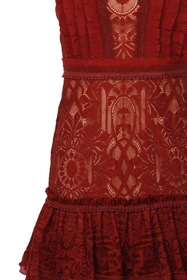 c8c8c63ba0c Jonathan Simkhai Red Cabernet Tower Mesh Lace Ruffle Layered Mid-length  Cocktail Dress Size 0 (XS) 77% off retail