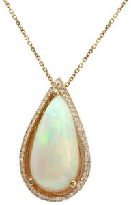 Other 7.66CTW Natural Opal and Diamond in 14K Solid Yellow Gold Pendant