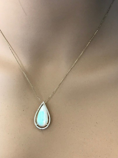 Other 7.66CTW Natural Opal and Diamond in 14K Solid Yellow Gold Pendant Image 1