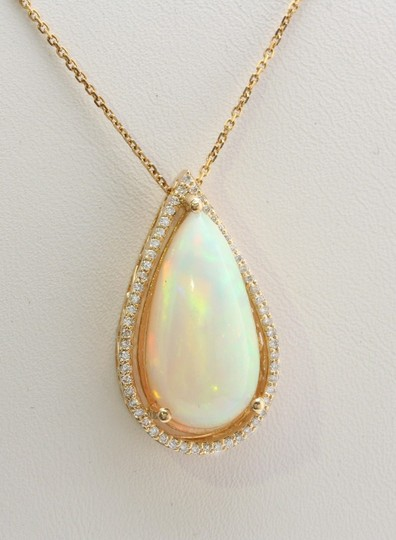 Other 7.66CTW Natural Opal and Diamond in 14K Solid Yellow Gold Pendant Image 2
