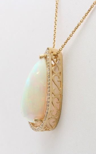 Other 7.66CTW Natural Opal and Diamond in 14K Solid Yellow Gold Pendant Image 3