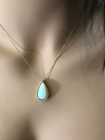 Other 7.66CTW Natural Opal and Diamond in 14K Solid Yellow Gold Pendant Image 4