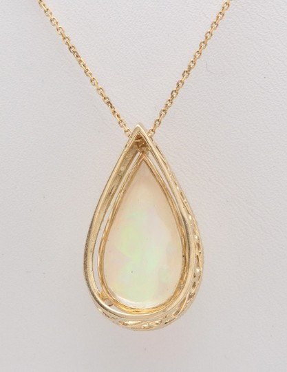 Other 7.66CTW Natural Opal and Diamond in 14K Solid Yellow Gold Pendant Image 5