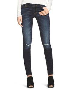 White House | Black Market Distressed Mid Rise Whiskering Skinny Jeans-Dark Rinse