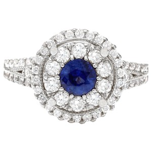Fashion Strada 2.10 Carat Natural Sapphire 14K Solid White Gold Diamond Ring