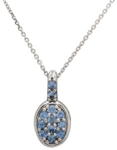 Other 0.18ct Natural Blue Sapphire & Diamond 14K White Gold Women Pendant