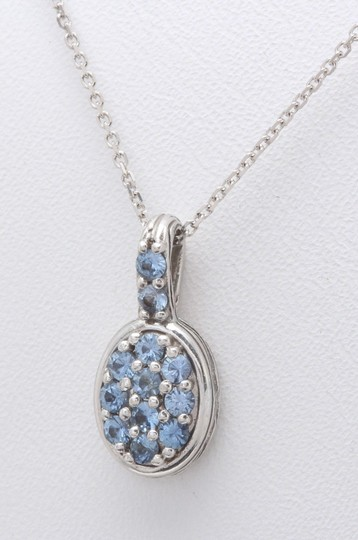 Other 0.18ct Natural Blue Sapphire & Diamond 14K White Gold Women Pendant Image 2