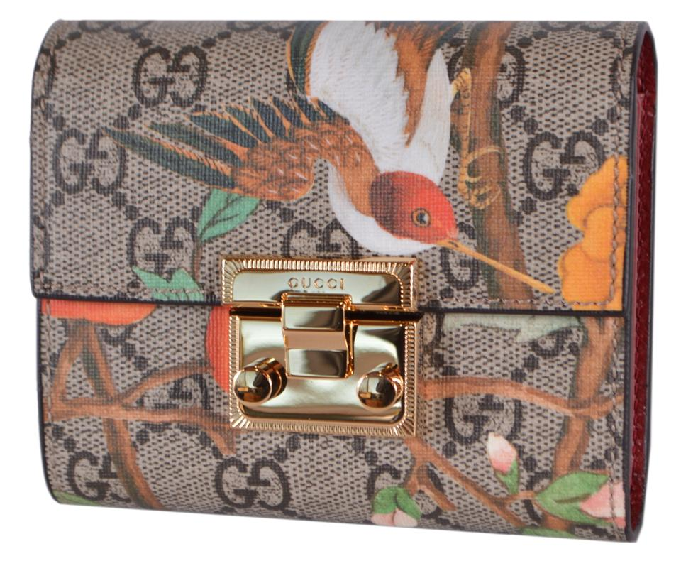 d79b5977f90097 Gucci New Gucci GG Supreme Blooms Birds Floral Trifold Wallet Image 0 ...