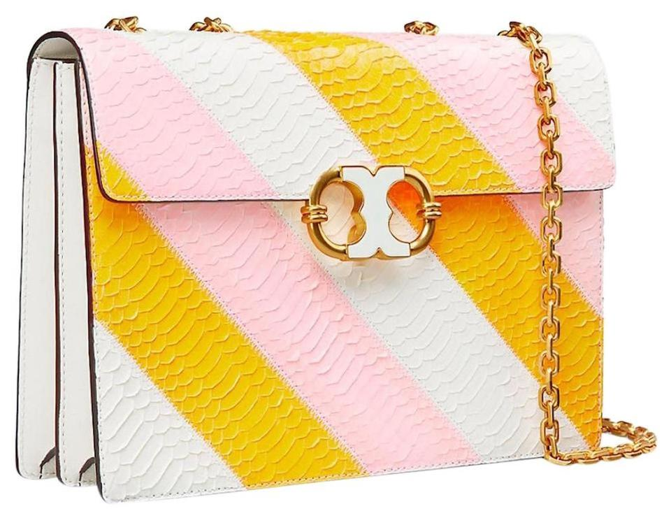 Tory Burch Gemini Crossbody New Spring Summer Purse Yellow Pink White Leather Tote 19 Off Retail