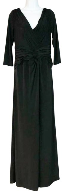 Item - Black L Stretchy Ruched Gown Long Cocktail Dress Size 14 (L)