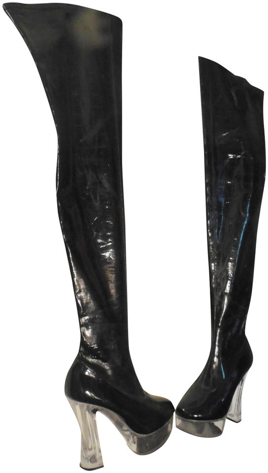 a4aba2f24 Pleaser Super Star Thigh High Platform Plexi Heel Boots Image 0 ...