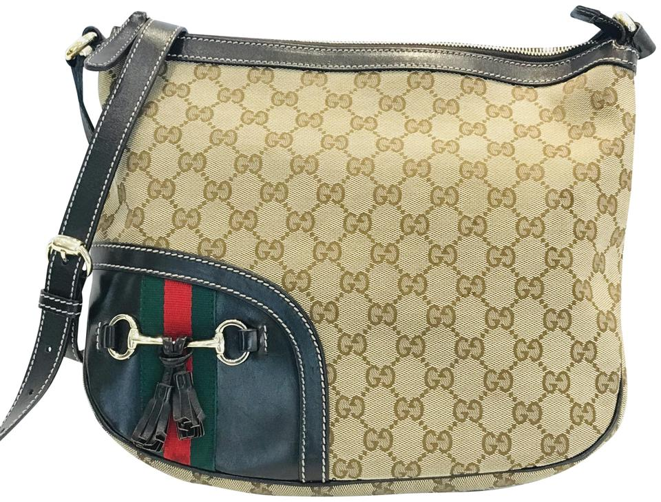 6babc6ebe Gucci Horsebit Monogram Tassel Messenger Brown Coated Canvas Cross ...