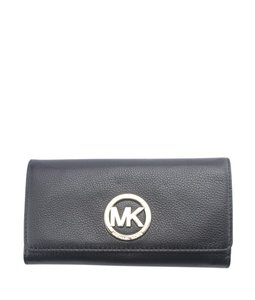 3e97d54aa96d37 Michael Kors Michael Kors Fulton Carryall Black Leather Snap Wallet (164955)