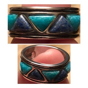 Carolyn Pollack Crushed Turquoise & Lapis Sterling Ring
