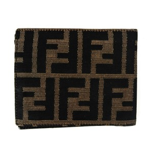 Fendi FF Zucca Print Logo Canvas Leather Unisex
