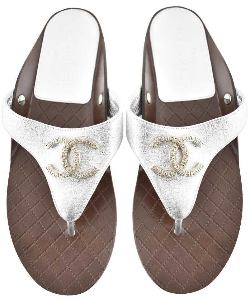 790ee8e1766 Chanel Silver 18s Laminated Quilted Brown Cc Logo Thong Strap Slide ...
