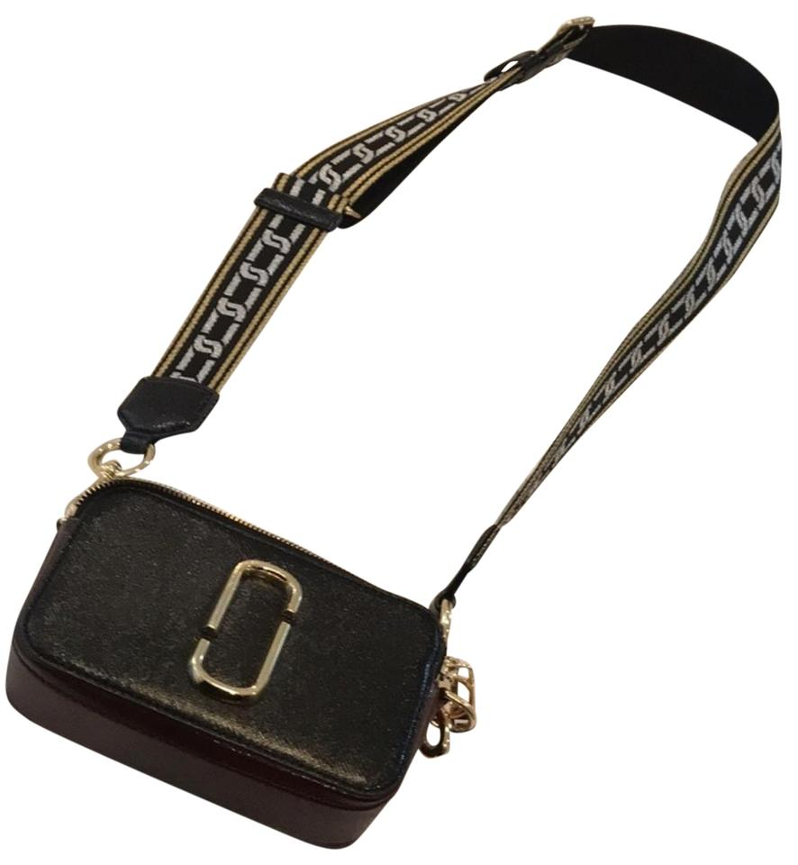 fd5d3380eea0 Marc Jacobs Snapshot Black Gold Red Leather Cross Body Bag - Tradesy