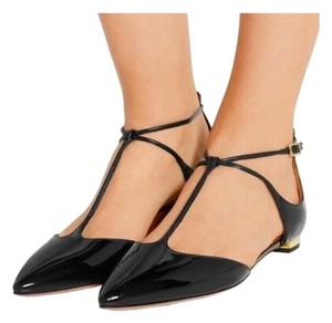 Aquazzura Ballet Pointed Toe Patent Leather Black Flats