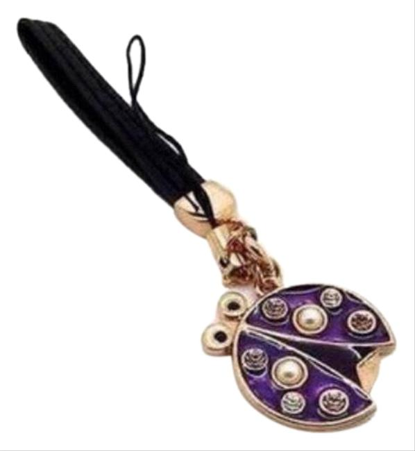 Item - Purple Black and Gold Wrist Strap Cell Phone Ladybug Tech Accessory