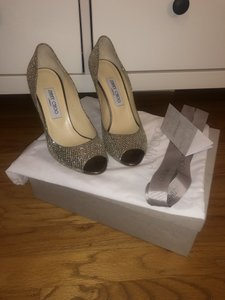 Jimmy Choo Champagne and Silver Sparkles Baxen Wedges Size US 8.5 Regular (M, B)
