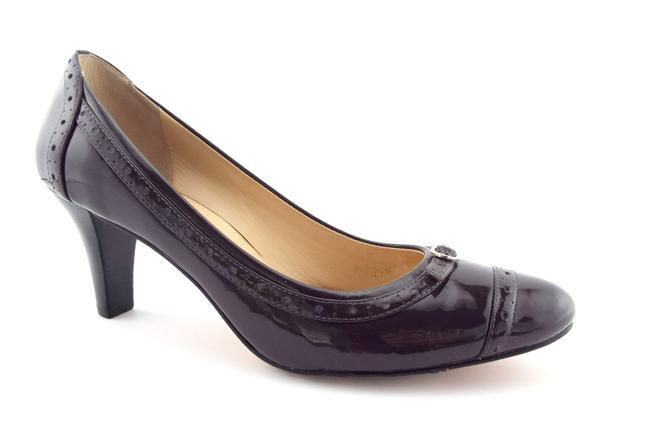 Item - Eggplant Purple Patent Leather Belted Buckle Cap Toe Heels Pumps Size US 9 Regular (M, B)